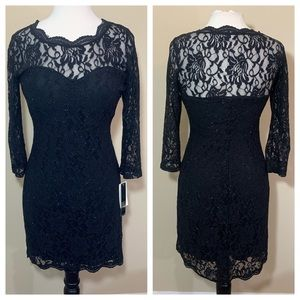 Black bodycon lace detail dress glitter holiday